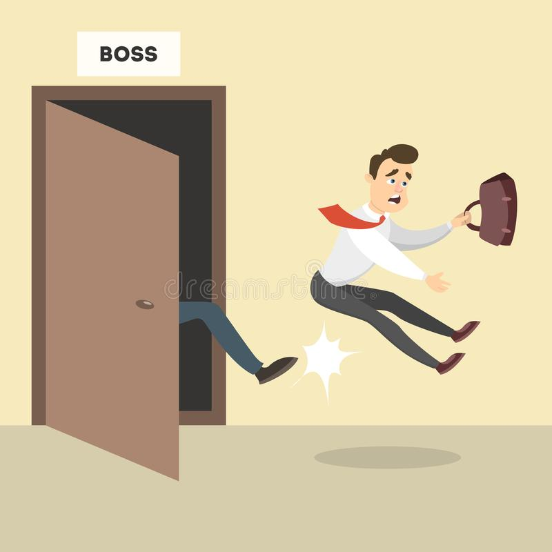 Boss kicks out. Boss kicks out the male employee from the office stock illustration
