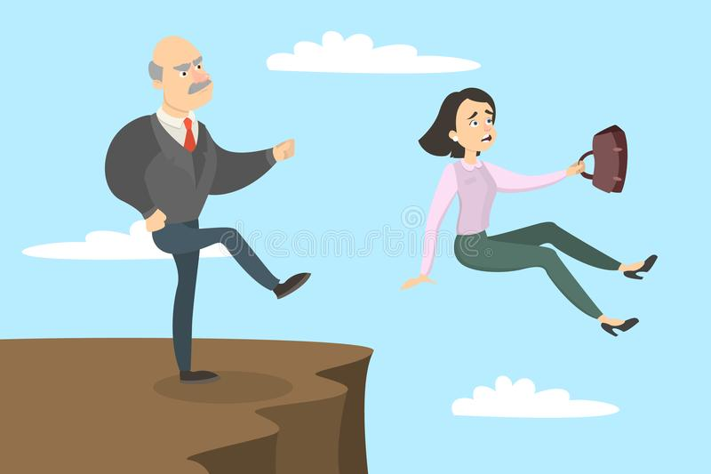 Boss kicks out. Boss kicks out the female employee from the cliff stock illustration