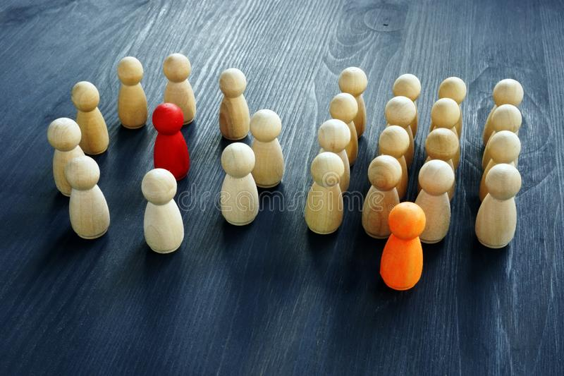 Boss or leader. Different types of company structure. stock photography