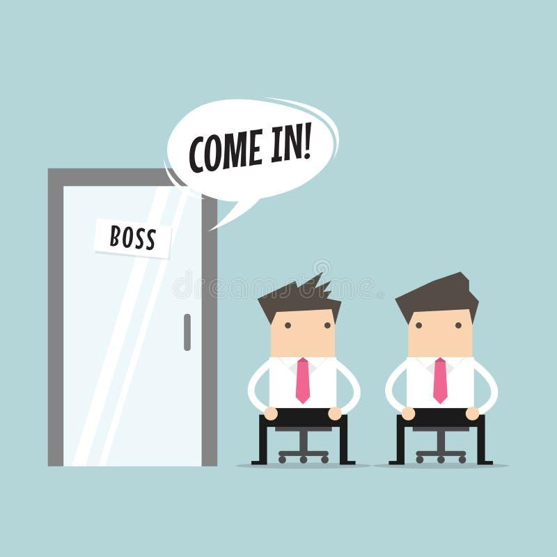 Boss llamó al empleado en el cuarto libre illustration