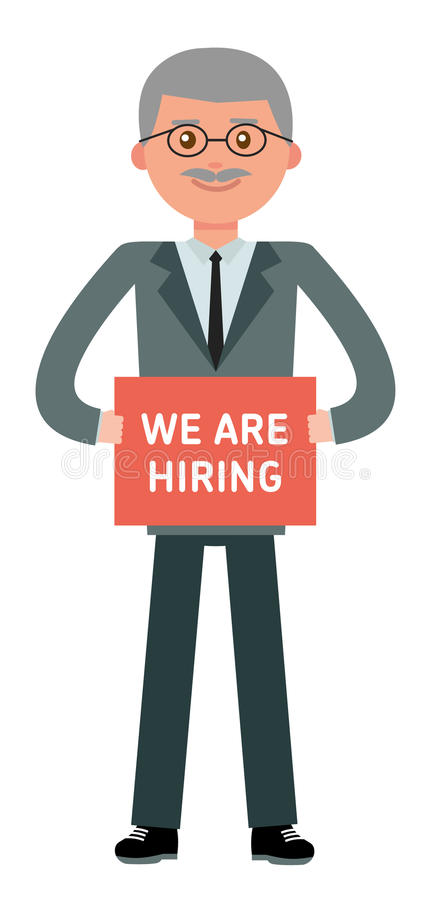 Boss is looking for new employees. Cartoon vector flat-style illustration vector illustration