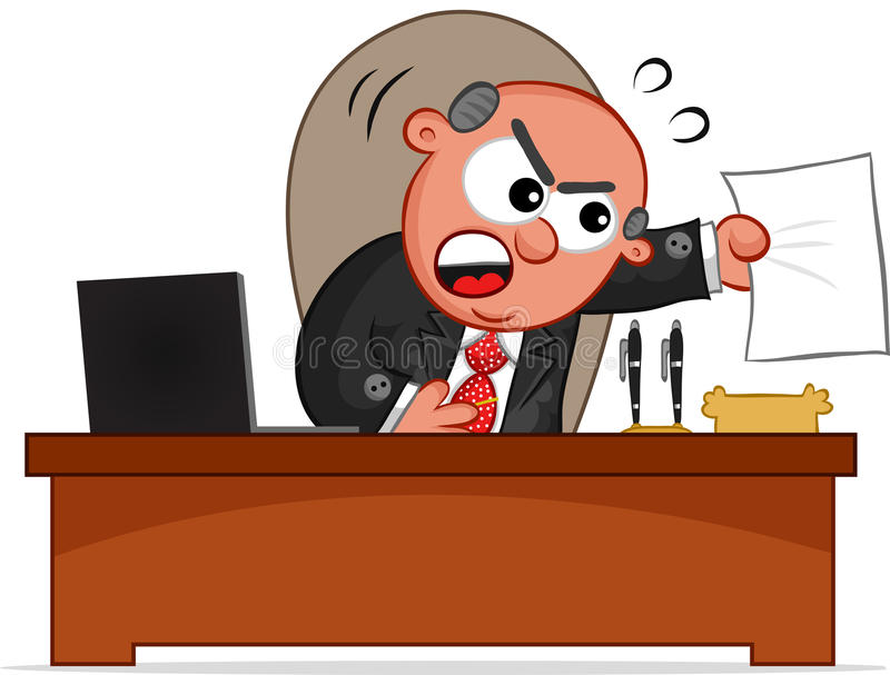 Download Boss Man Angry With Paper stock vector. Image of caricature - 32047724
