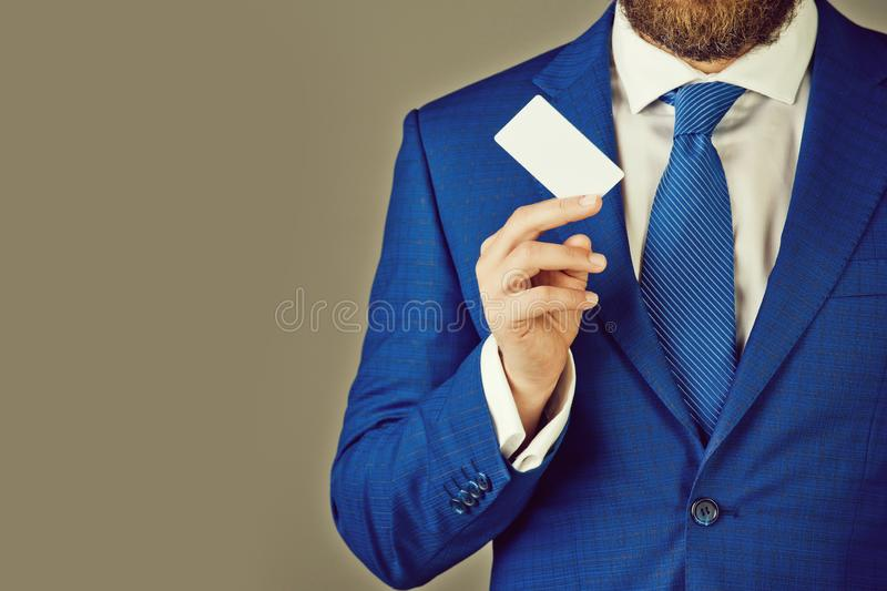 Boss or man with business or credit card, business ethics. Boss or man with business or credit card in blue formal outfit on grey background, copy space royalty free stock image