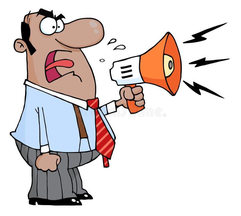 Boss man screaming into megaphone stock illustration