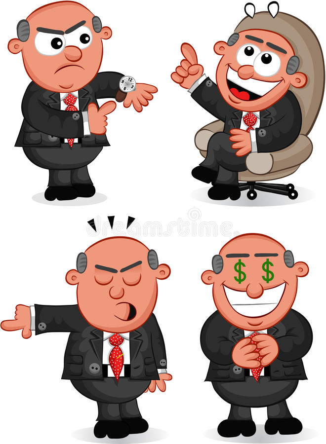 Download Boss Man Set 6 stock vector. Image of four, caricature - 32288991