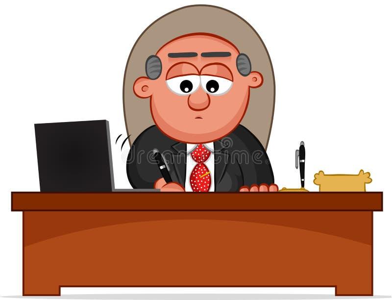 Boss Man Signing. Cartoon boss man signing royalty free illustration