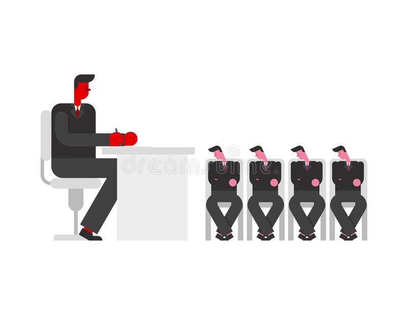 Boss and managers meeting. Chief and subordinates. Business office life.  royalty free illustration
