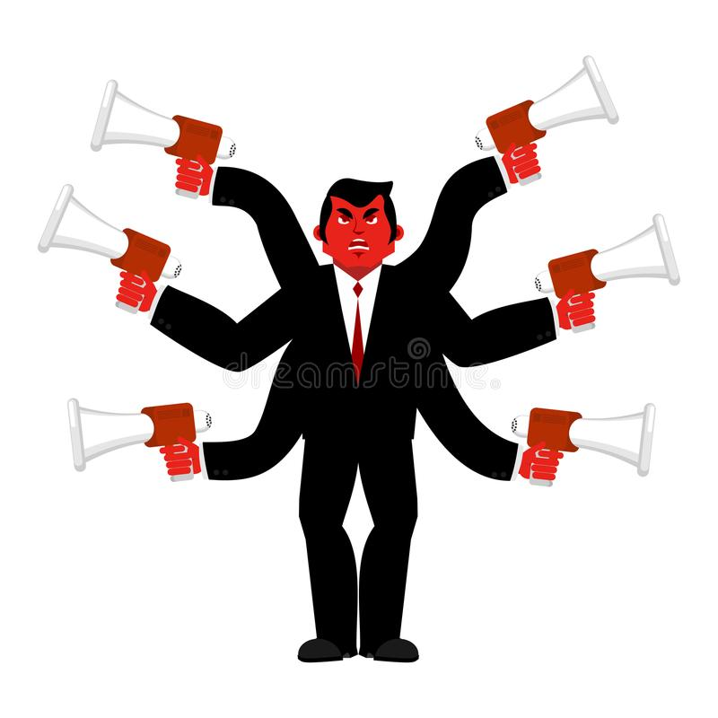 Boss and megaphone. Businessman and lots of hands. Director scolds through bullhorn. Give orders and instructions. Chief is vector illustration