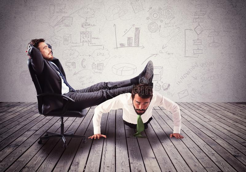 Boss mobbing. Supporting employee with fatigue the big boss stock images