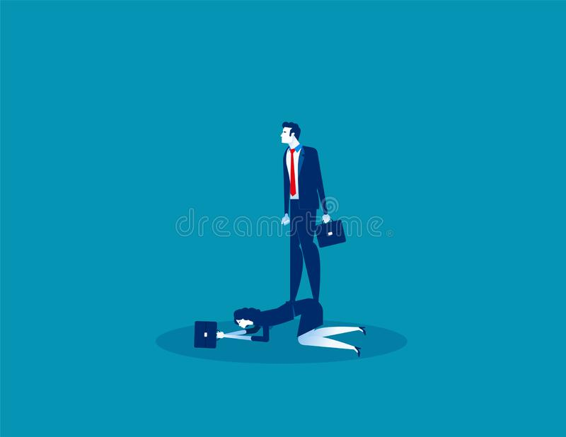 Boss oppressive employee. Concept business vector, Employment and labor,  Obliged, Expression stock images