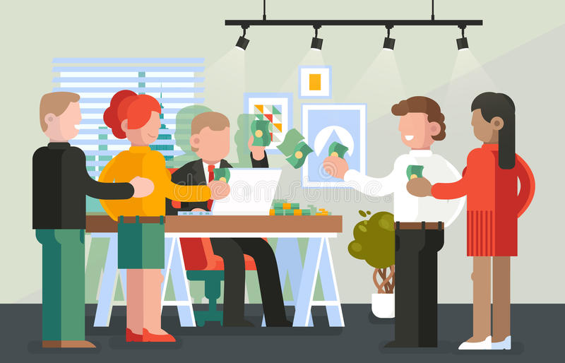 Boss paying salary to his workers or employee stock illustration