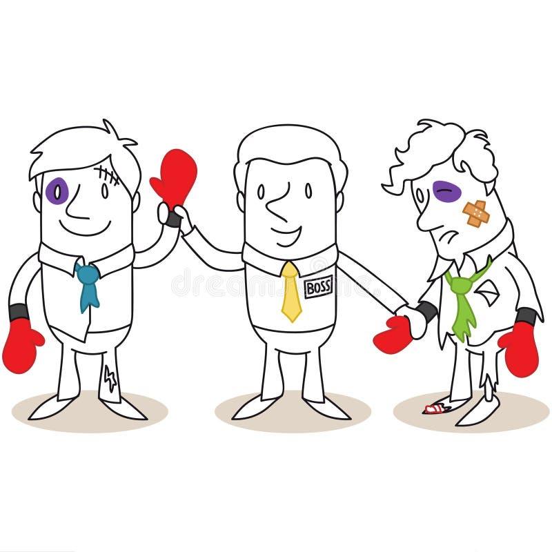Boss que anuncia al ganador en combate de boxeo libre illustration