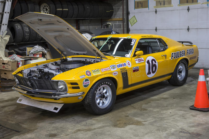 Boss 302 race car. Picture of 1970 mustang boss 302 trans am racer with hood open in preparation for the salon de l`auto sport de quebec, april 7-8-9 2017 stock photo