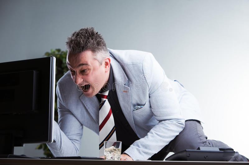 Boss read bad news and explodes royalty free stock photos