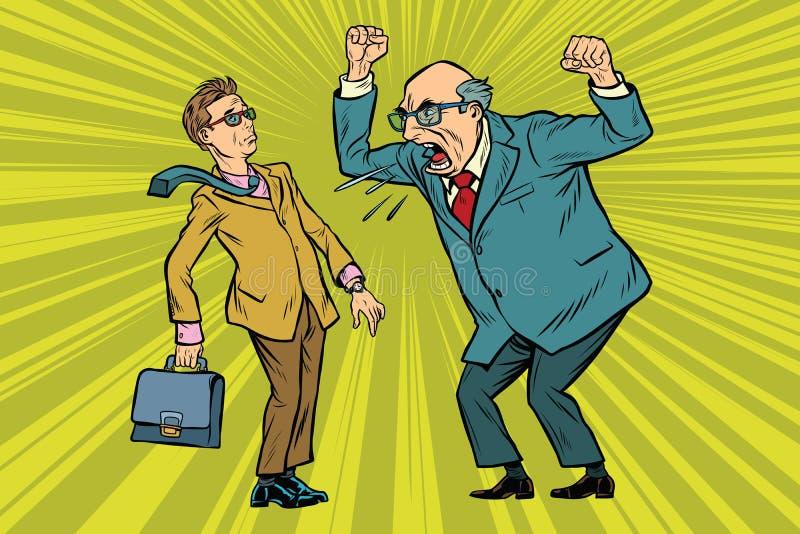 Boss regaña al hombre de negocios ilustración del vector