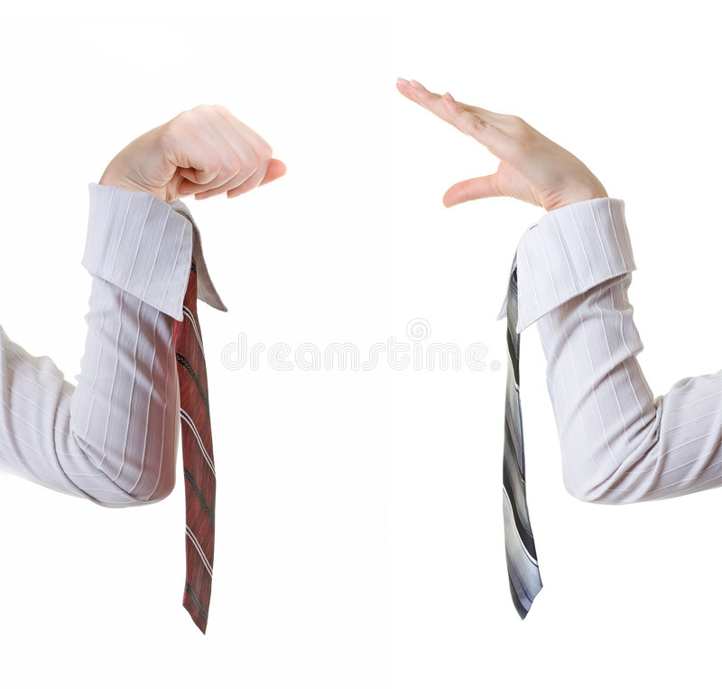 Boss scolding his employee. stock photography