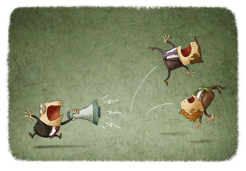 Boss scolding his employees. Illustration of boss scolding his employees royalty free illustration