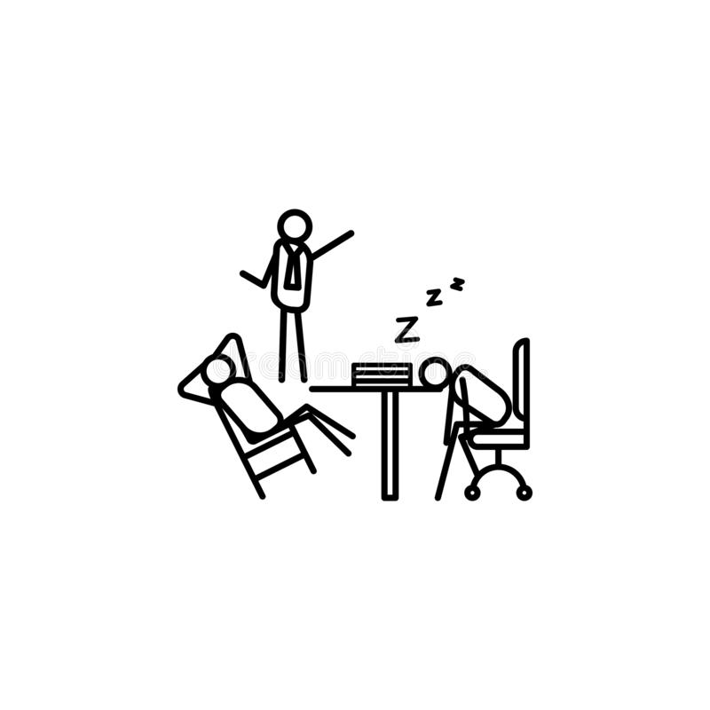 Boss scolds for laziness outline icon. Element of lazy person icon for mobile concept and web apps. Thin line icon boss scolds for. Laziness can be used for web stock illustration