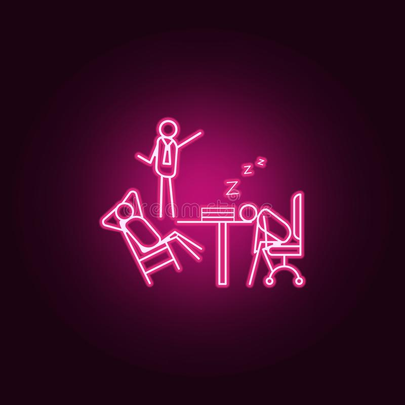 Boss scolds for laziness outline icon. Elements of Lazy in neon style icons. Simple icon for websites, web design, mobile app,. Info graphics on dark gradient stock illustration