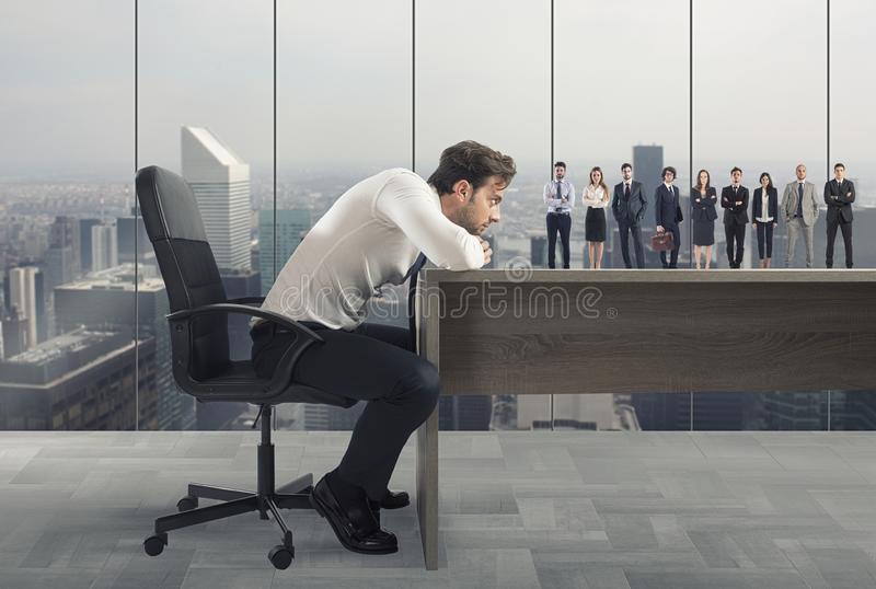 Boss selects suitable candidates to the workplace. Concept of recruitment and team stock image