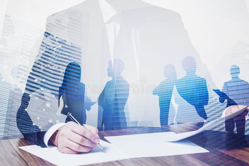 Boss signing documents, business team concept royalty free stock image