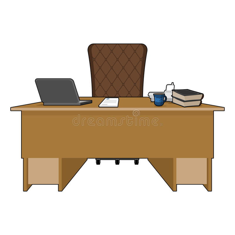 Boss table. Business office. leader supervisor. Director desktop. Laptop and phone. Cup of coffee and Chair. chief job royalty free illustration