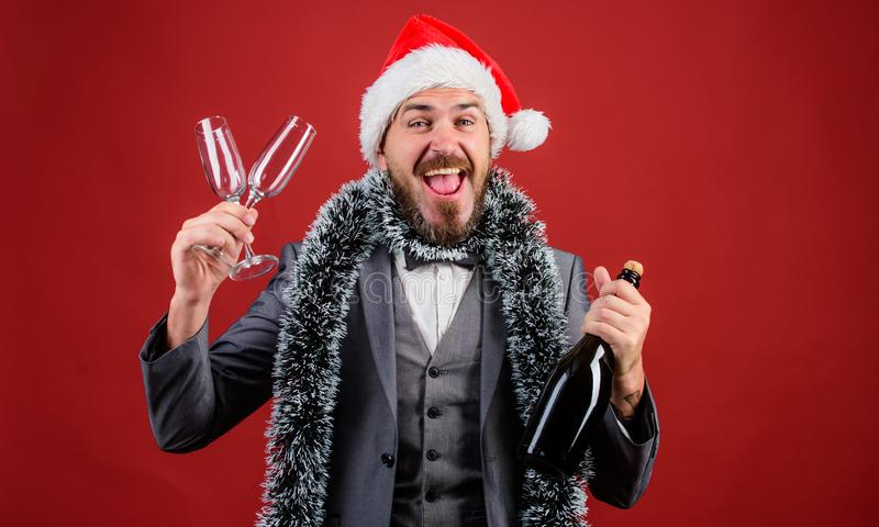Boss tinsel ready celebrate new year. Corporate party ideas employees will love. Man bearded cheerful hipster santa hold stock photos