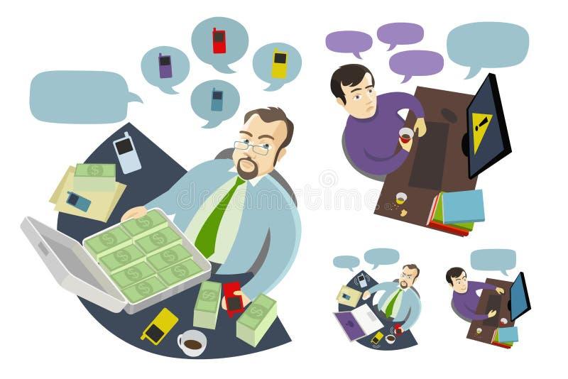 Boss y empleado que trabajan en el escritorio de la tabla ilustración del vector