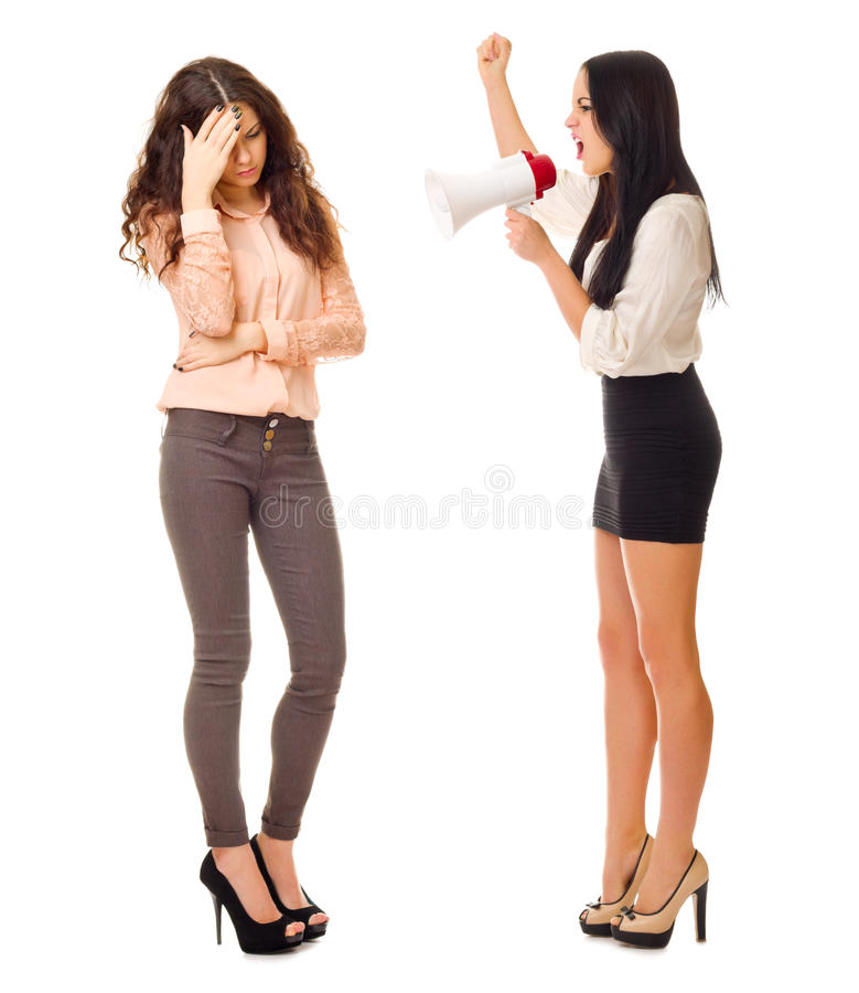 Boss yelling at an employee through megaphone. Isolated royalty free stock image