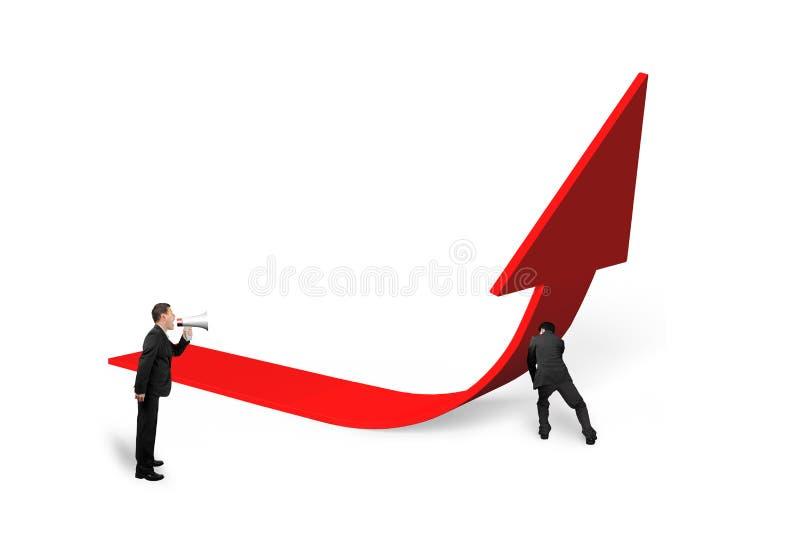 Boss yelling at employee pushing red trend 3D arrow upward. Boss using speaker yelling at employee pushing red trend 3D arrow upward, isolated on white royalty free illustration