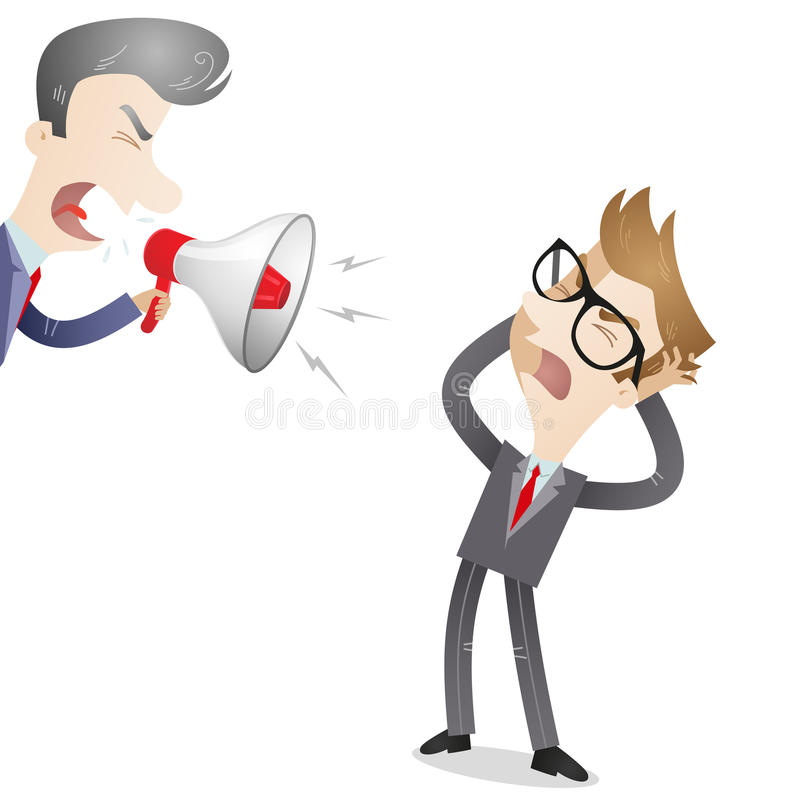 Boss yelling at employee. Vector illustration of a cartoon character: Boss yelling through megaphone at his frustrated employee vector illustration