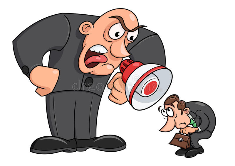 Boss yelling at his worker 3. Illustration of the angry boss yelling at his worker royalty free illustration