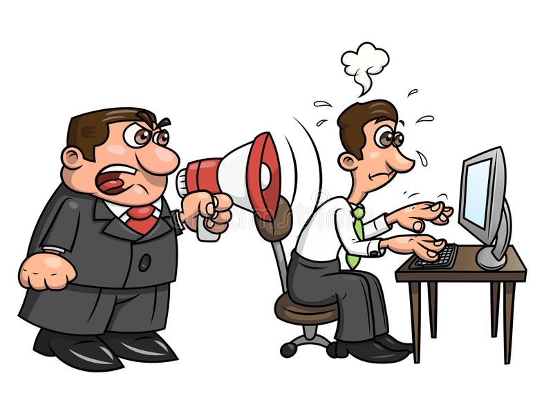 Boss yelling at worker 2. Illustration of the angry boss yelling into megaphone at worker. White background. Vector royalty free illustration