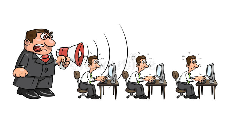Boss yelling at workers 2. Illustration of the angry boss yelling into megaphone at workers. White background. Vector stock illustration