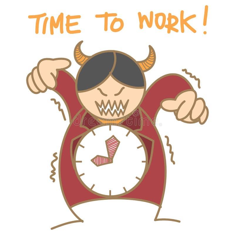 Bossage d'horloge de diable rouge illustration de vecteur
