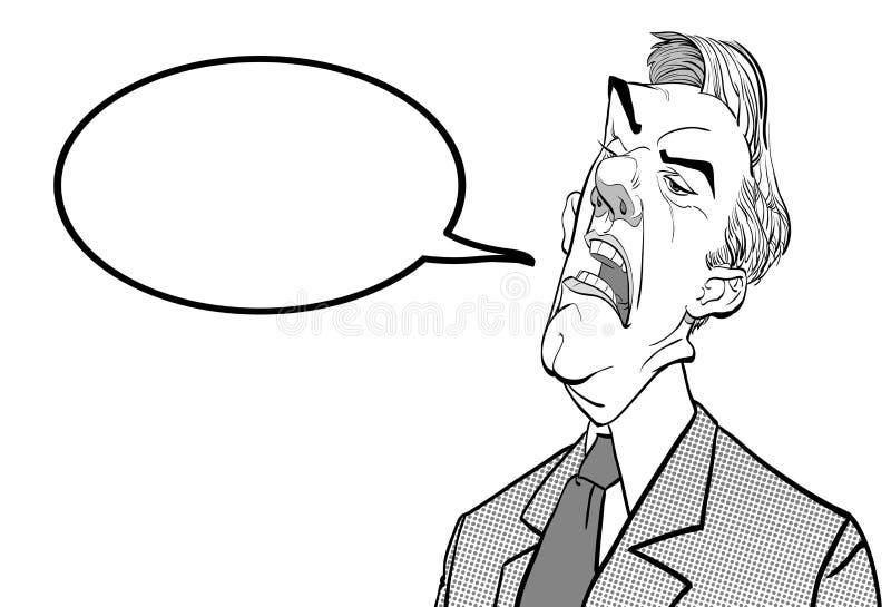 Bossage fâché Politicien contrarié Homme fâché Illustration parlante de Vector de politicien illustration de vecteur
