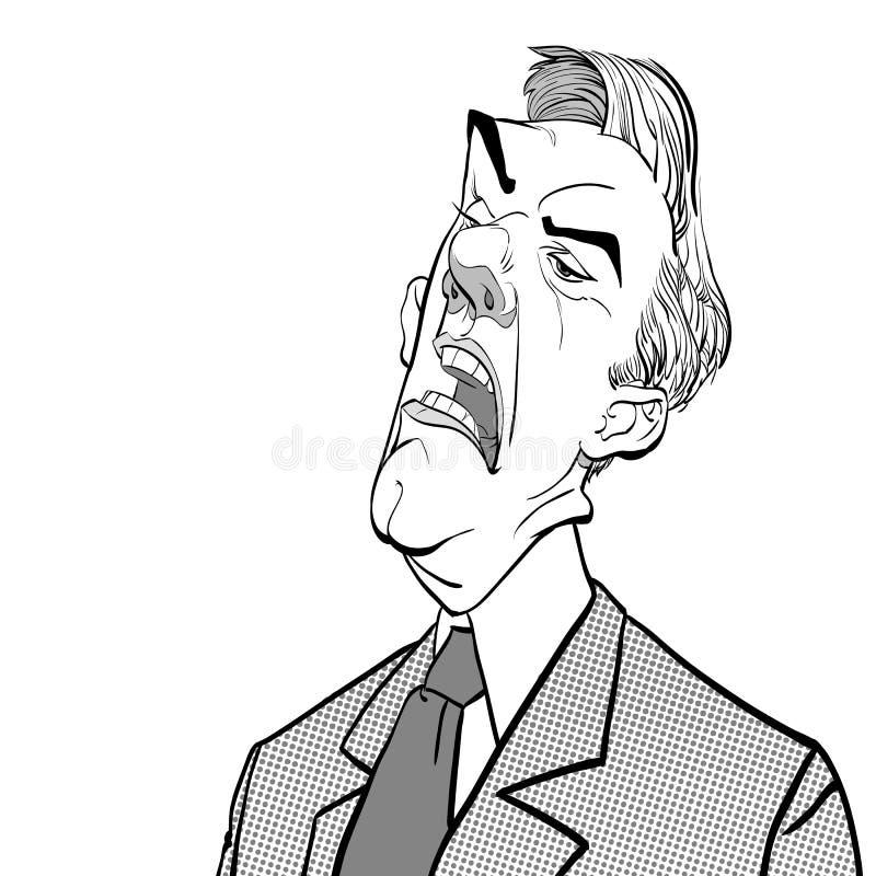 Bossage fâché Politicien contrarié Homme fâché Illustration parlante de Vector de politicien illustration stock