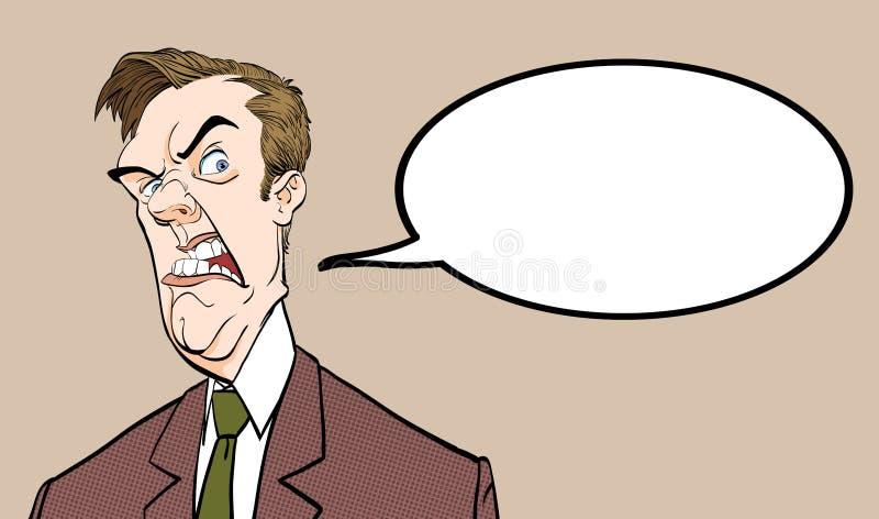 Bossage fâché Politicien contrarié Homme fâché Mauvaise émotion illustration de vecteur