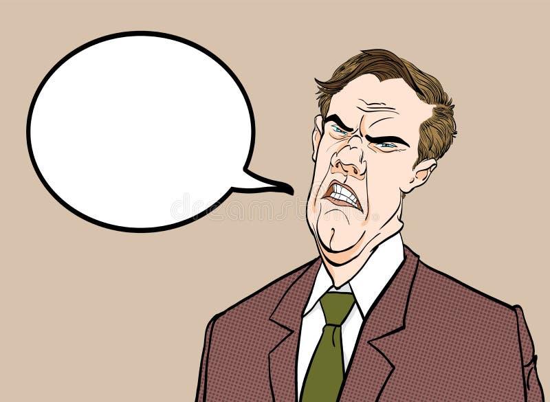 Bossage fâché Politicien contrarié Homme fâché Homme triste Politicien parlant E illustration stock