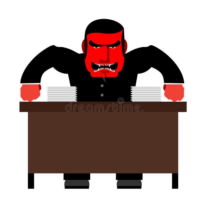 Bossage fâché Rouge en chef avec colère à la table Le chef de jure et s illustration de vecteur