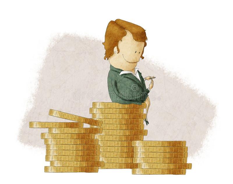 Bossage riche se reposant sur une pile des pièces de monnaie illustration libre de droits