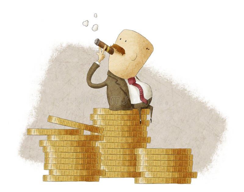 Bossage riche se reposant sur une pile des pièces de monnaie illustration stock