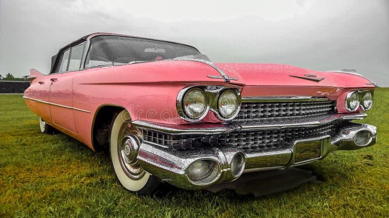 BOSSCHENHOOFD/NETHERLANDS- 11 DE JUNIO DE 2018: una vista espectacular de Cadillac rosado clásico imagen de archivo libre de regalías
