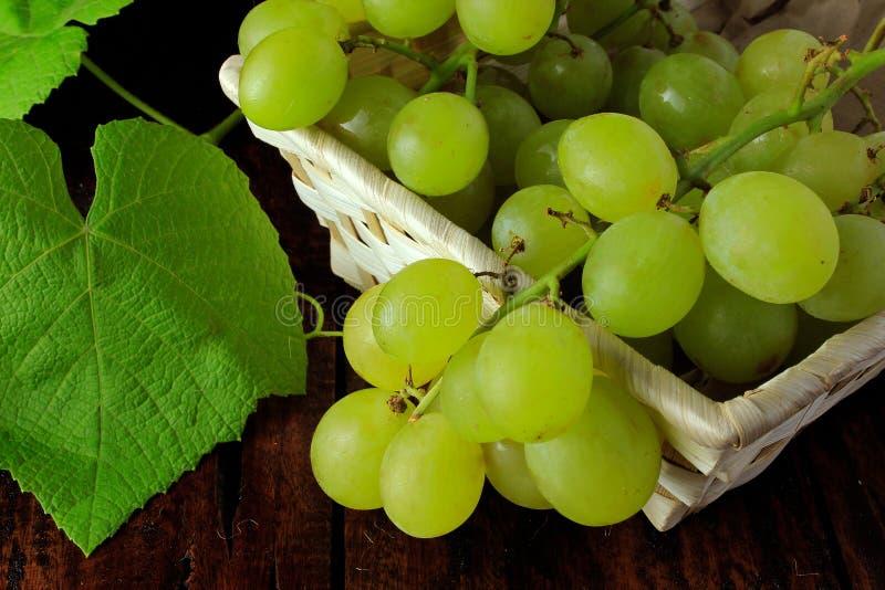 Bossen van verse groene druiven, met takken en bladeren, mand, op rustieke houten lijst royalty-vrije stock fotografie