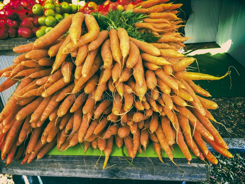 Bossen van Wortelen bij Landbouwersmarkt royalty-vrije stock afbeelding