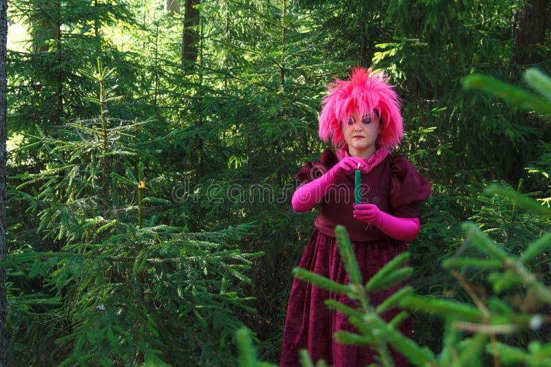 Bossenheks in paarse kledingkegels tussen het bos met kaarsen stock foto's