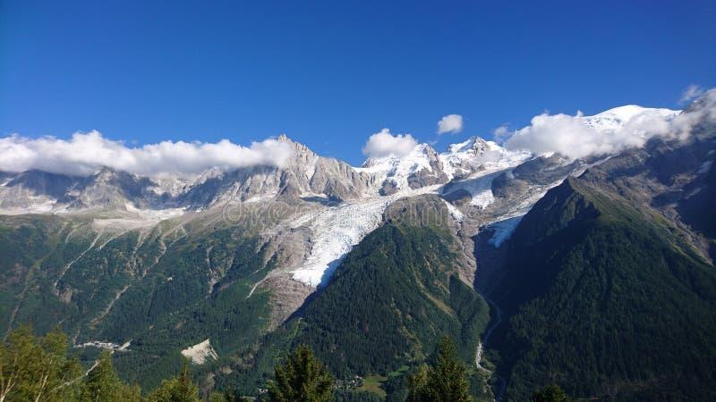 bossons冰川在法国在夏天 库存照片
