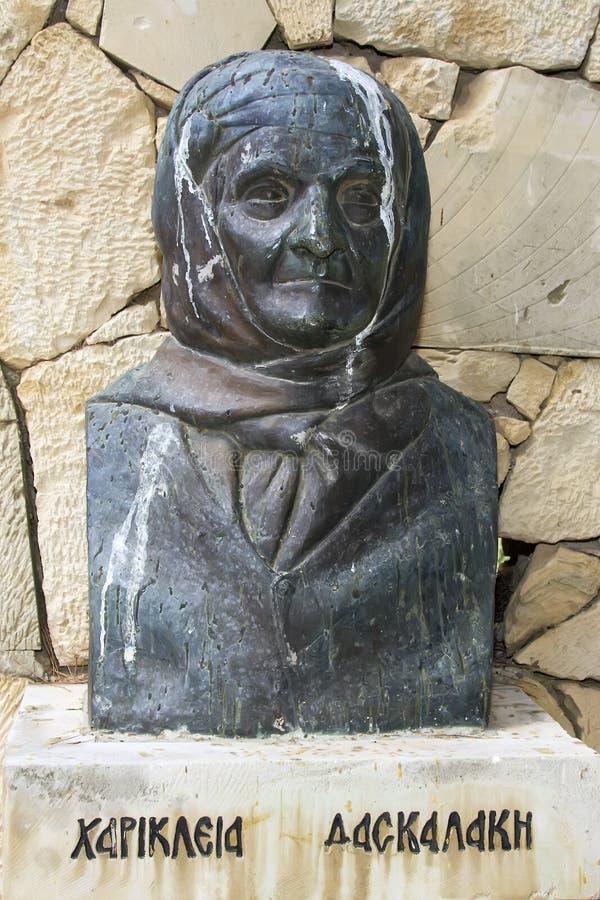 Bost of Hariklia Daskalaki, Arkadi Monastery, Crete stock image