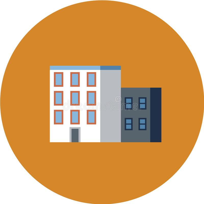 Bostads- byggnader för stad, vektorsymbolsuppsättning Kommunala fastighetobjekt som isoleras på vit bakgrund stock illustrationer