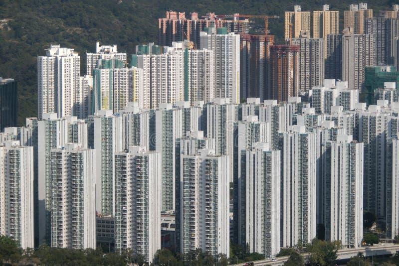 Bostads- byggnader på Shatin nya territorier Hong Kong arkivbild